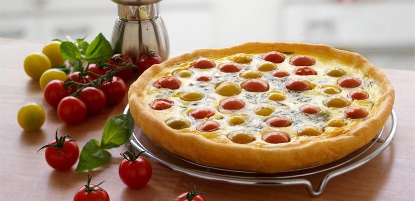 Recettes de quiches au fromage : Quiche aux tomates cerise, basilic et fromage frais