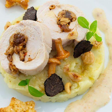 Recette : Roulade de dinde et mousseline de pommes de terre aux champignons - Re...