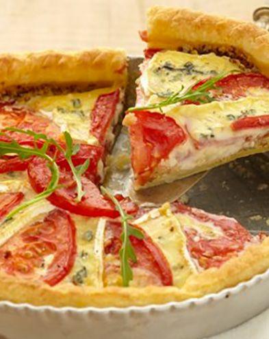 Tartes salées et sucrées au fromage :  Tarte à la tomate et au bleu
