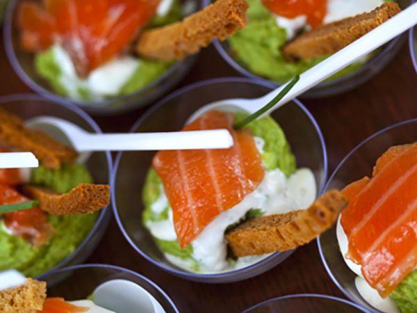 Menu de Noël :  Verrine au fromage frais et saumon