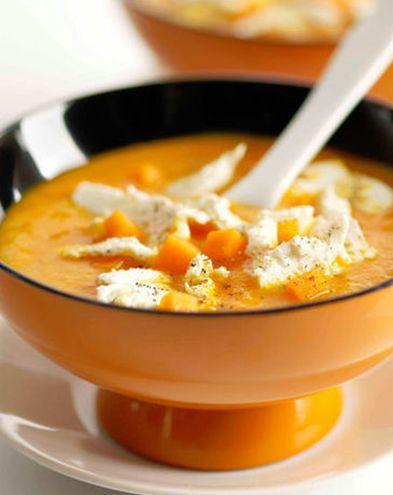 Recettes de soupes :  Velouté de potiron aux écailles de fromage