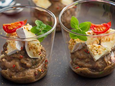 Recette : Caviar d'aubergine au fromage, crumble de cacahuètes - Recette au from...