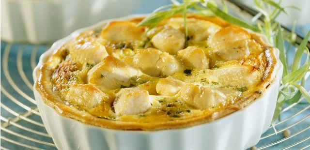 Recettes de quiches au fromage : Quiche au poulet, chèvre frais et blette