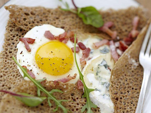 Recette : Galette sarrasin au bleu et aux lardons - Recette au fromage
