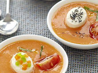 Recette : Gaspacho tomate et poivron & Fromage frais  - Recette au fromage