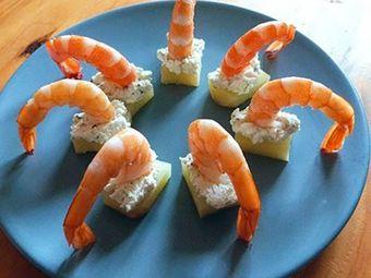 Recette : Bouchées apéritives aux crevettes et fromage frais ail & fines herbes...