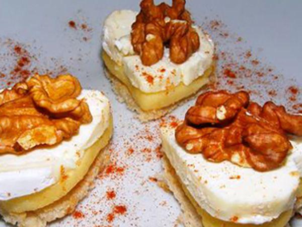 Recette : Toasts aux pommes, noix et fromage - Recette au fromage