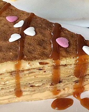 Recettes de crêpes et galettes :  Gâteau de crêpe au caramel et fromage frais