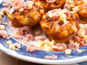 Recette : Muffins salés au jambon et fromage à raclette - Recette au fromage