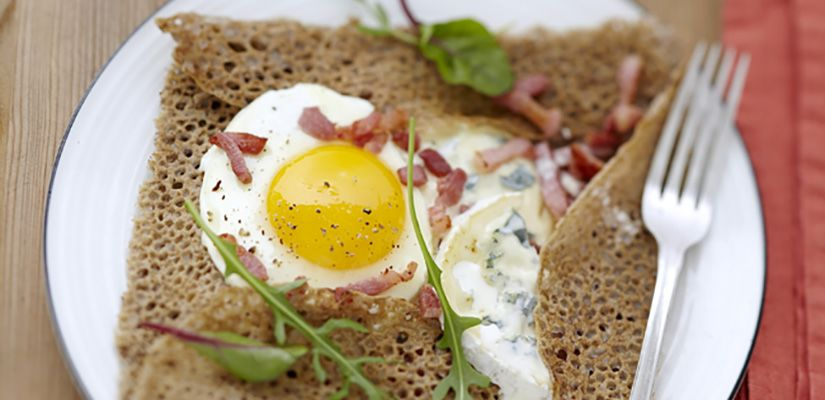 Recettes rapides : Recette : Galette sarrasin au bleu et aux lardons - Recette au fromage