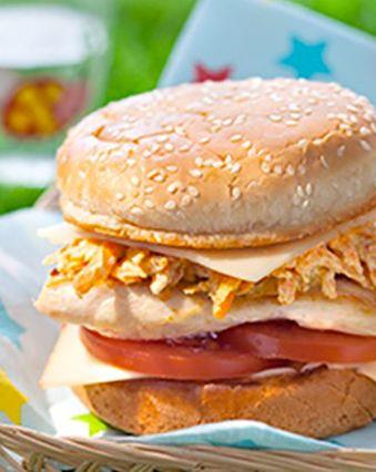 Recettes pas chères :  Burger au fromage, poulet et curry