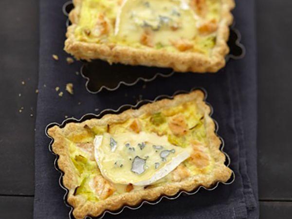 Tartes salées et sucrées au fromage :  Tarte aux poireaux, saumon et fromage bleu