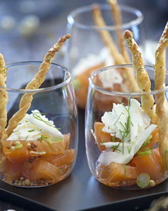 Menu de Noël :  Verrine de saumon à l'aneth et fromage