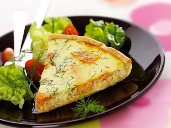Tartes salées et sucrées au fromage :  Tarte au chèvre frais, saumon et poireau