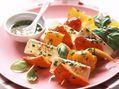 Recette : Brochettes de légumes marinés au fromage - Recette au fromage