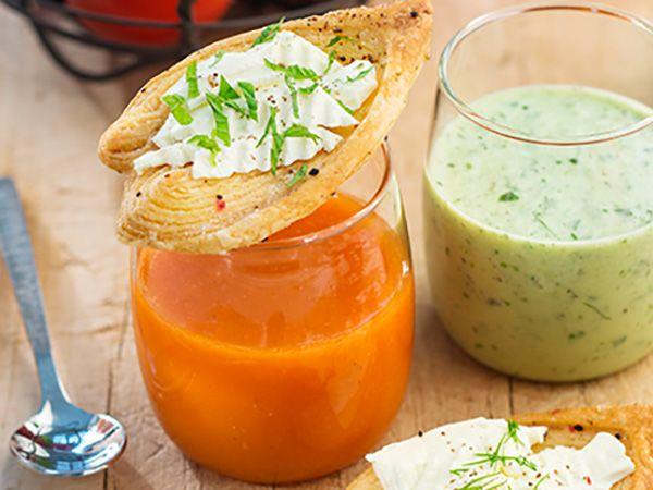 Recette : Gaspacho et feuilletés apéritifs au fromage frais  - Recette au fromag...