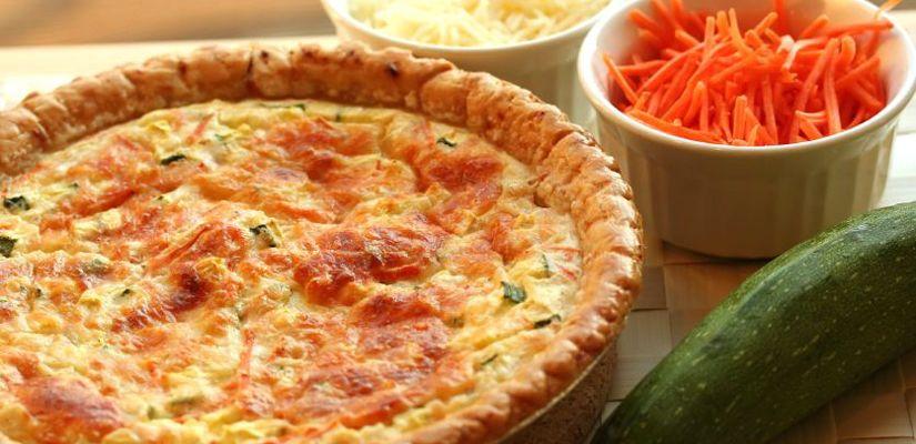 Recettes de quiches au fromage : Quiche aux carottes et courgette, au fromage frais