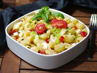 Recette : Salade de pâtes méditerranéenne au fromage - Recette au fromage