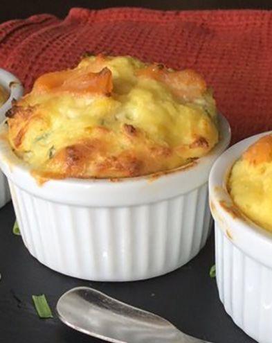 Soufflés au fromage :  Petits soufflés saumon ciboulette au fromage