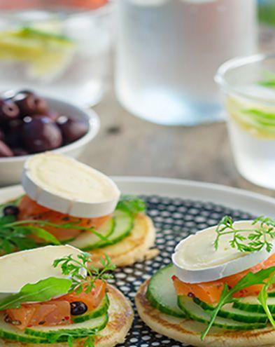 Recettes de Saint-Valentin :  Pancakes au saumon et fromage