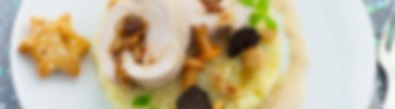 Recette Roulade de dinde et mousseline de pommes de terre aux champignons - Rece...