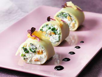 Recette : Cannellonis épinards et noix au fromage frais - Recette au fromage