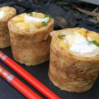 Recette : Makis de crêpes à la pomme et au fromage frais - Recette au fromage