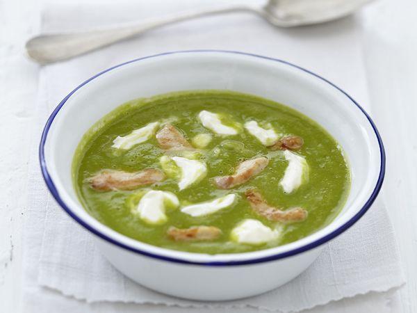 Recettes de soupes :  Velouté de petits pois au poulet et fromage frais