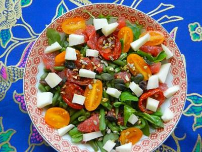 Recette : Salade composée au fromage de brebis, haricots verts, pamplemousse et...