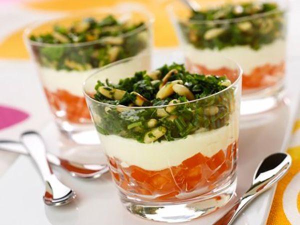 Apéro dînatoire :  Verrines provençales au fromage de chèvre frais