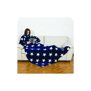 BLANKET W/SLEEVES/POCKET BLU/WHT/STARS