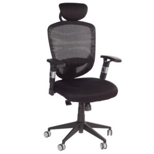 OFFICE CHAIR PU PADDED ARMREST BLK 881