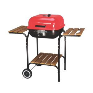 GRILL CHARCOAL 21''SQ WOODEN SHELF WAGON