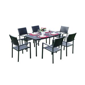 DINING SET 7PCS RECT. TABLE 6CHAIR BLACK
