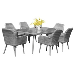 DINING SET 7PCS RECT.TABLE 6WICKER CHAIR