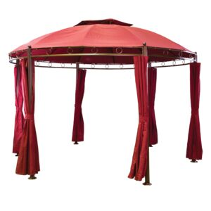 GAZEBO STEEL TOP FRAME 3.5X3.5M BURGUNDY