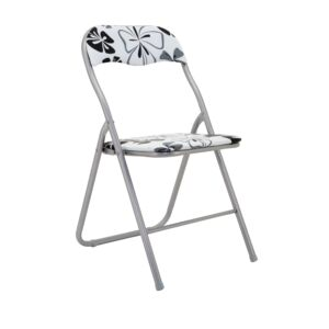 CHAIR FOLDABLE 22MM BLK/GRY FLWR DESIGN