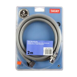 SHOWER HOSE 2.0M FLEXIBLE METAL/GREY