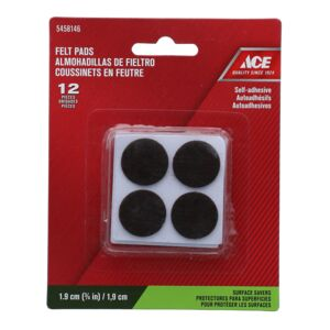"FELT PAD 3/4"" 12PC ACRYLIC BROWN ACE"