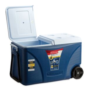 ICE CHEST 75QT WHEELED BLU&WHT RUBBRMAID