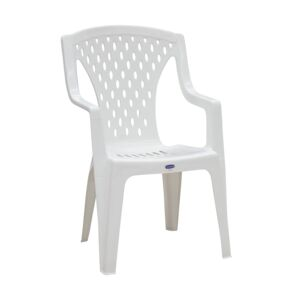 CHAIR STACKABLE W/ARMREST QUEEN WHITE