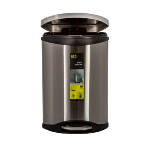 TRASH CAN 10L SHELL STEP W/LID SS BODY
