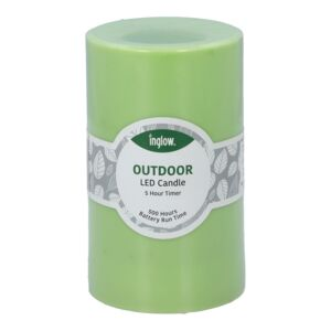 "CANDLE LED FLAMELESS 3X5"" PLASTIC GREEN"