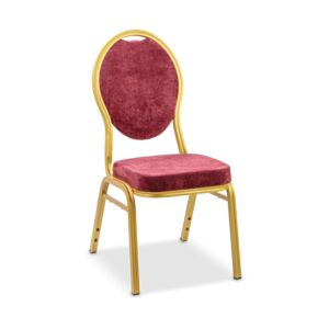 CHAIR BANQUET ALUM GOLD FRAME, DARK RED