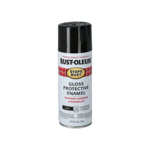SPRAY PAINT STOPS RUST GLOSS BLACK 12OZ