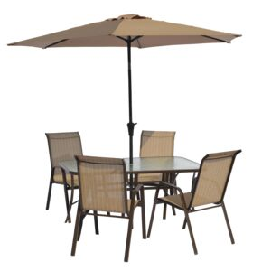 DINING 6PCS SET 4CHAIR 1TABLE 1UMBRELLA