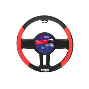 STEERING WHEEL COVER ANTIGRIP MED BLK&RD