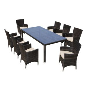 DINING SET 9PCS 1TABLE 8CHAIR ALUM WICKR