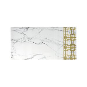 "PLATTER 18"" WHT MARBLE & GOLD PATTERN"