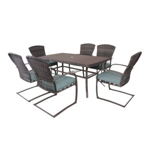 DINING SET 7PCS RECT.TABLE 6SPRING CHAIR